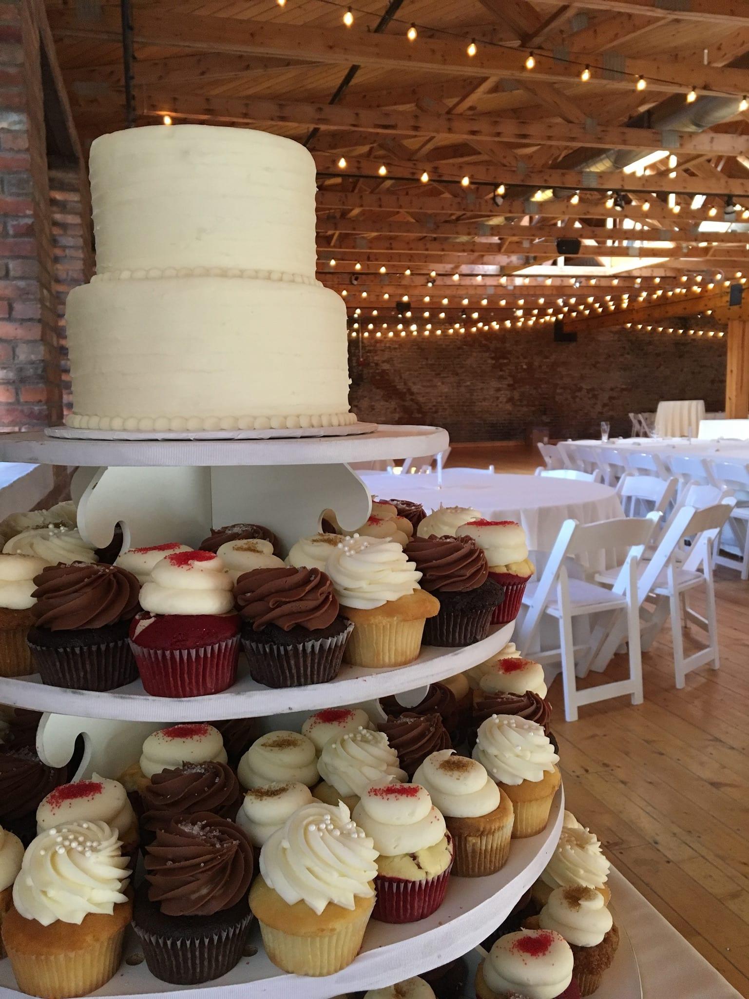 Wedding Cupcake Display at Rhinegeist Brewery | 3 Sweet Girls Cakery