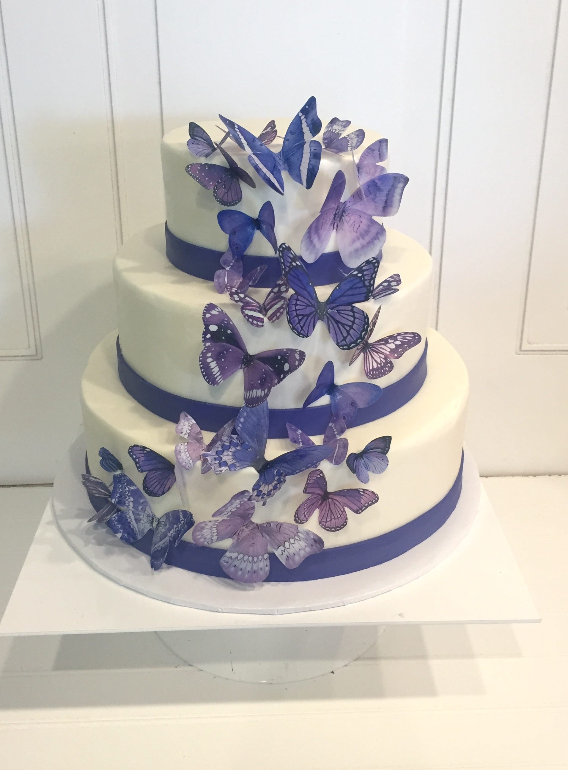 Purple Butterfly Wedding Cake | 3 Sweet Girls Cakery