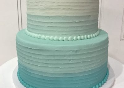 2 Tier Ombre Soft Blue Rustic Textured Birthday Cake | 3 Sweet Girls Cakery
