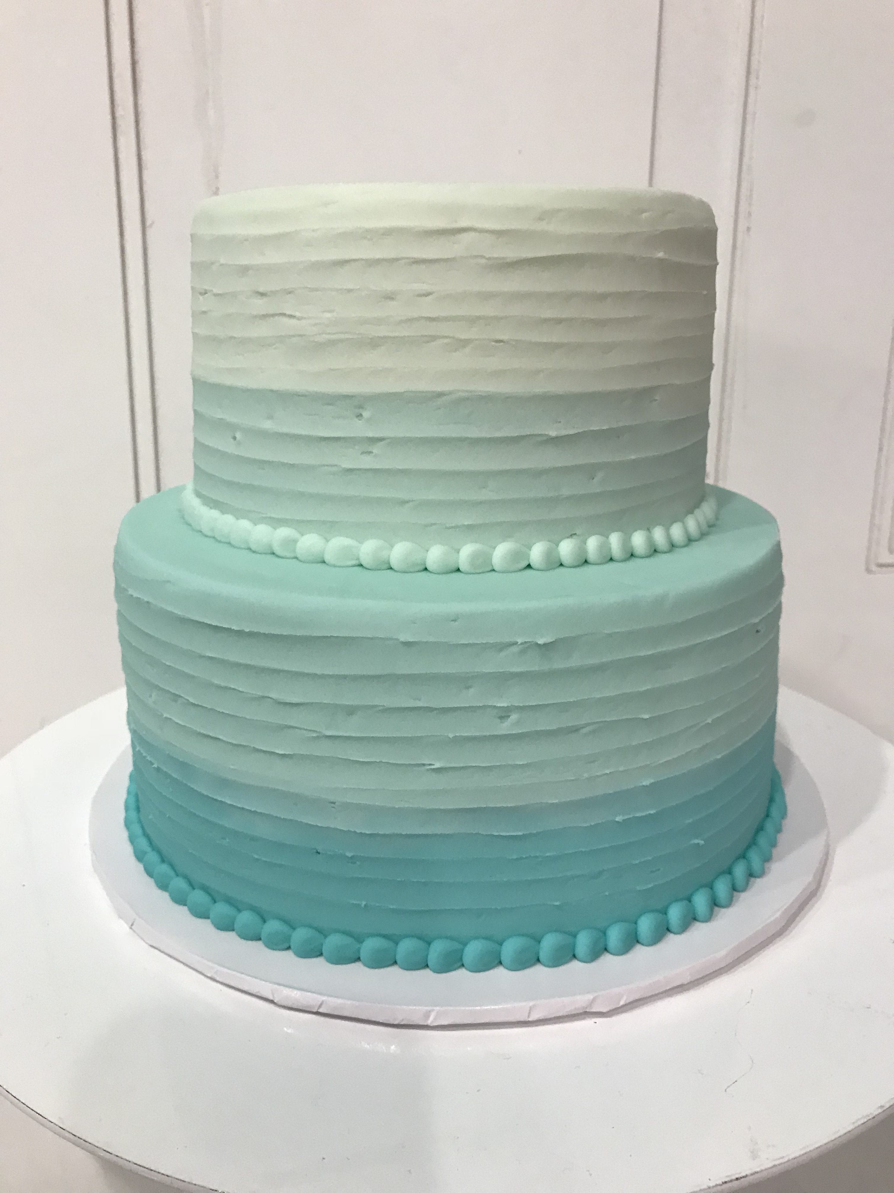 2 Tier Ombre Soft Blue Rustic Textured Birthday Cake   3 Sweet Girls Cakery