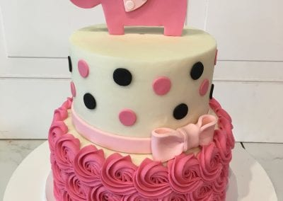 2 Tier Pink and Black Polka Dot Elephant Baby Shower Cake | 3 Sweet Girls Cakery