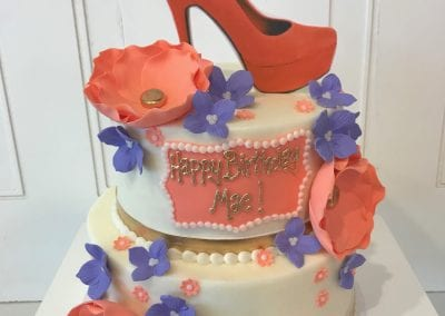 2 Tier Peach and Lavender Cake with Stiletto | 3 Sweet Girls Cakery