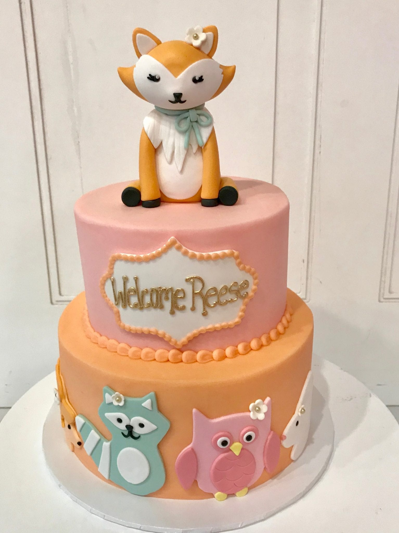 Pink and Peach 2 Tier Woodland Animal Baby Shower Cake | 3 Sweet Girls Cakery