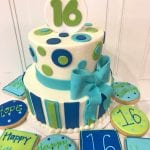 Lime Green, Blue and White Sweet Sixteen Cake