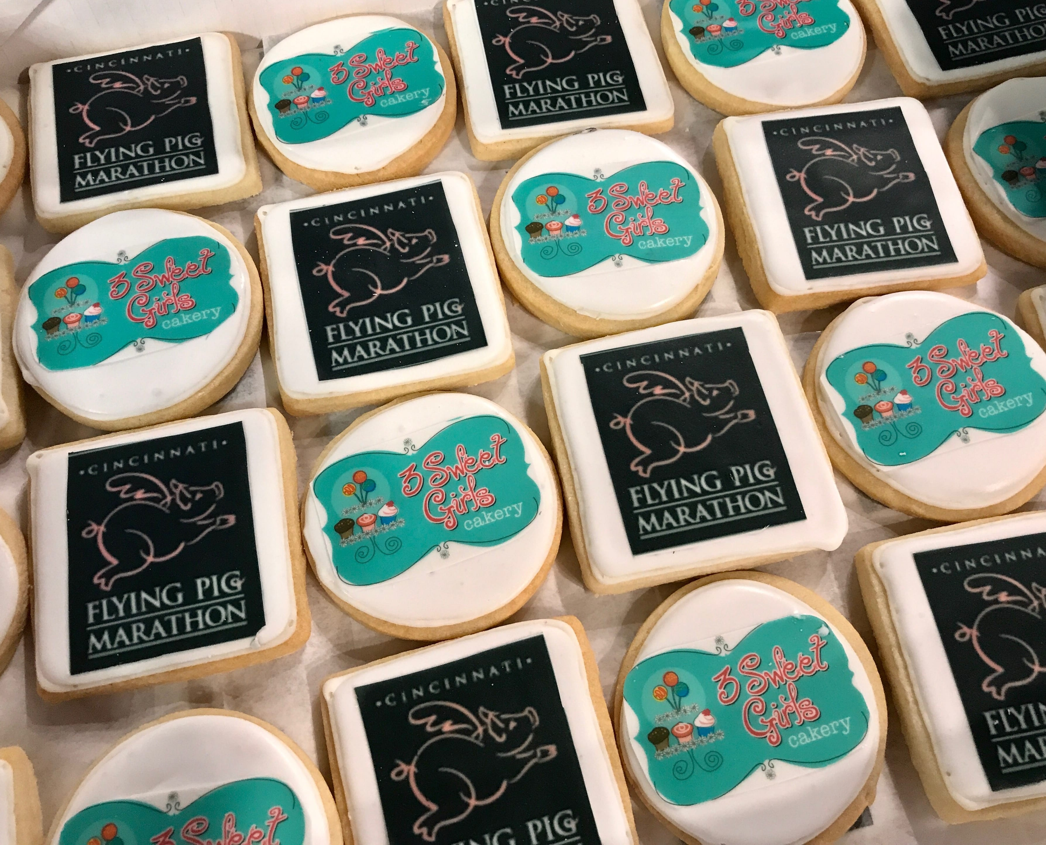 Corporate Logo Cookies for Flying Pig Marathon | 3 Sweet Girls Cakery