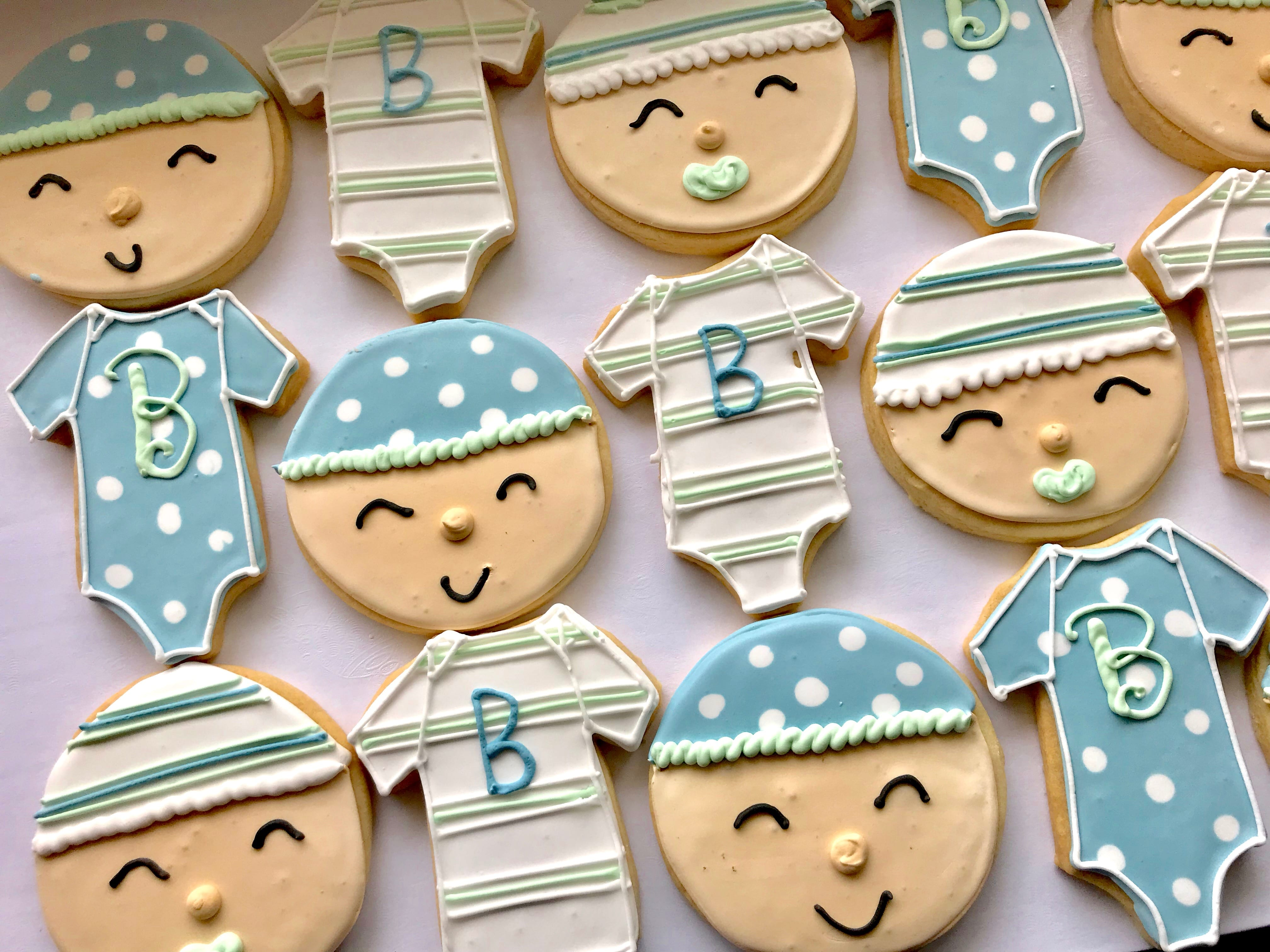 Blue and Mint Green Baby Face and Baby Onesie Cookies | 3 Sweet Girls Cakery