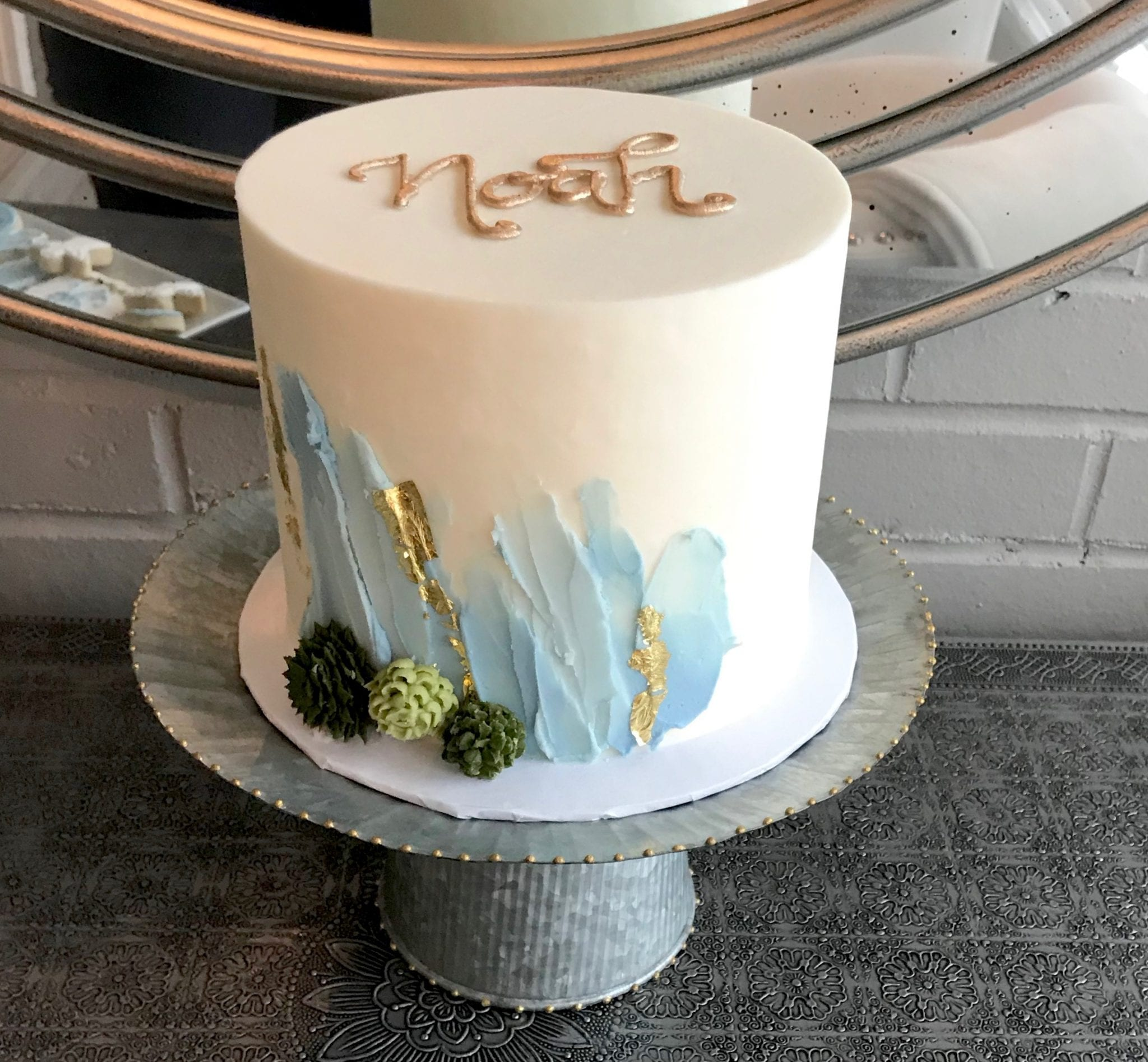 White Cake with Smoky Blue and Gold Accents | 3 Sweet Girls Cakery