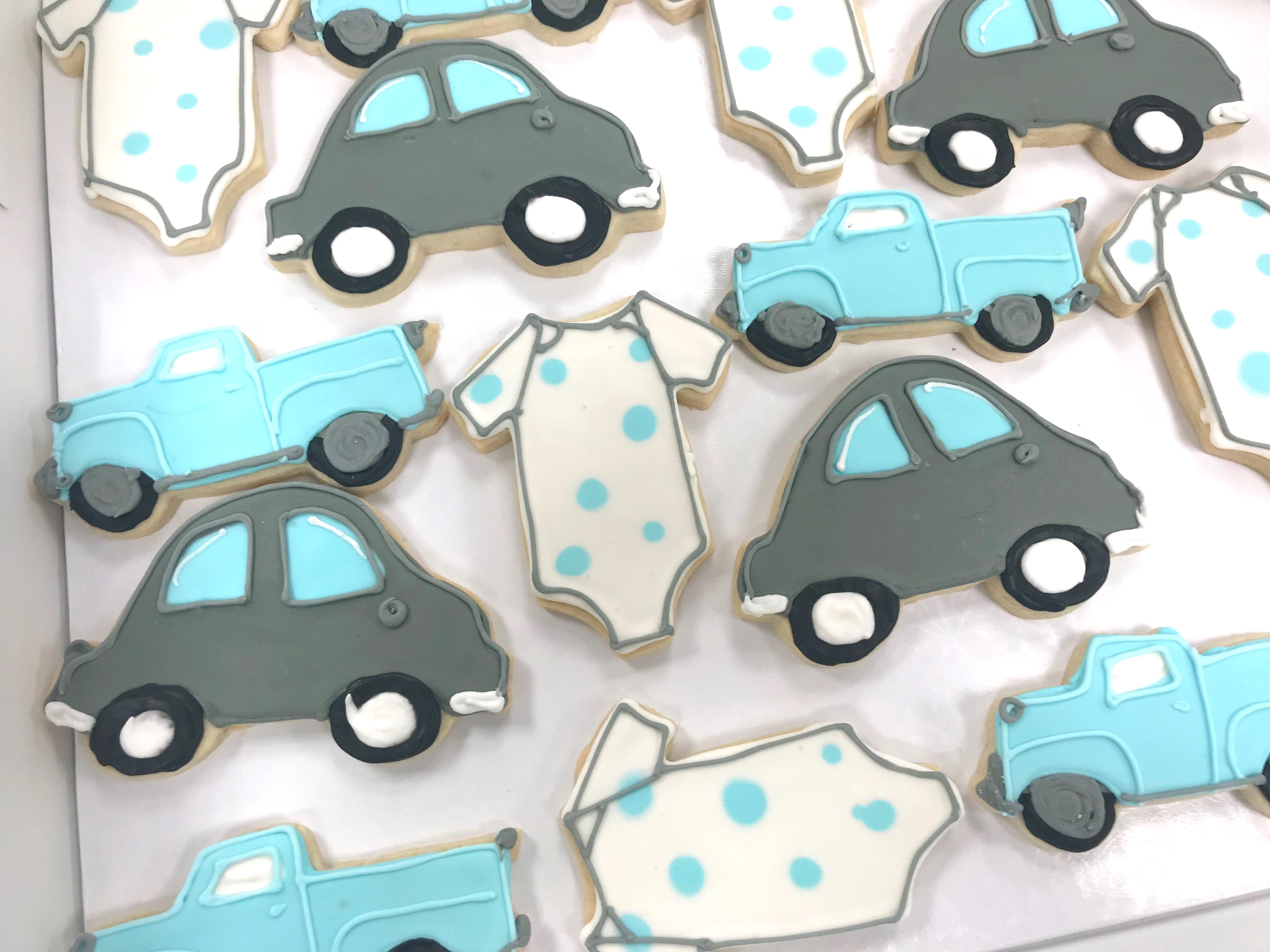 Car and Truck Baby Boy Shower Cookies | 3 Sweet Girls Cakery