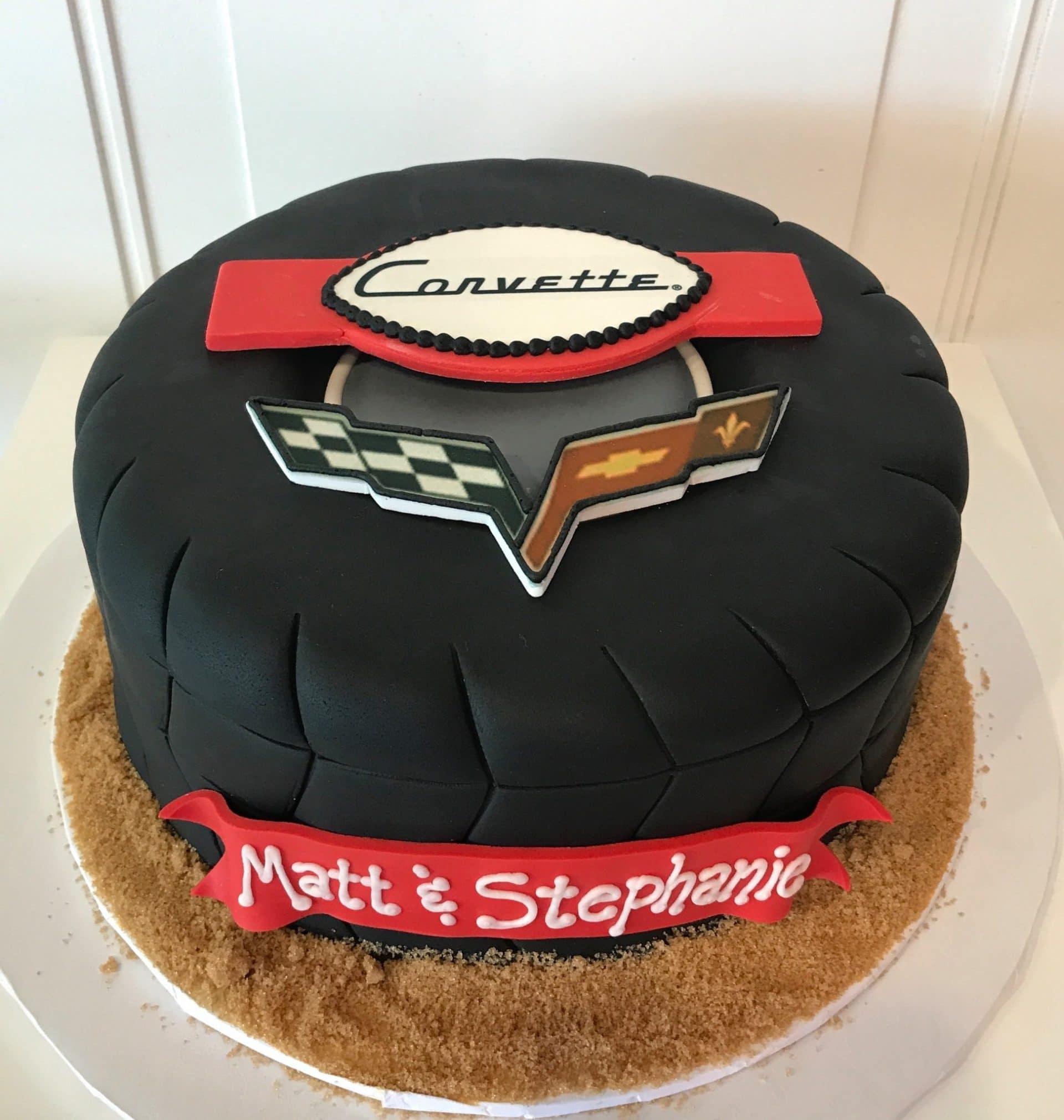 Corvette Tire Groom's Cake | 3 Sweet Girls Cakery