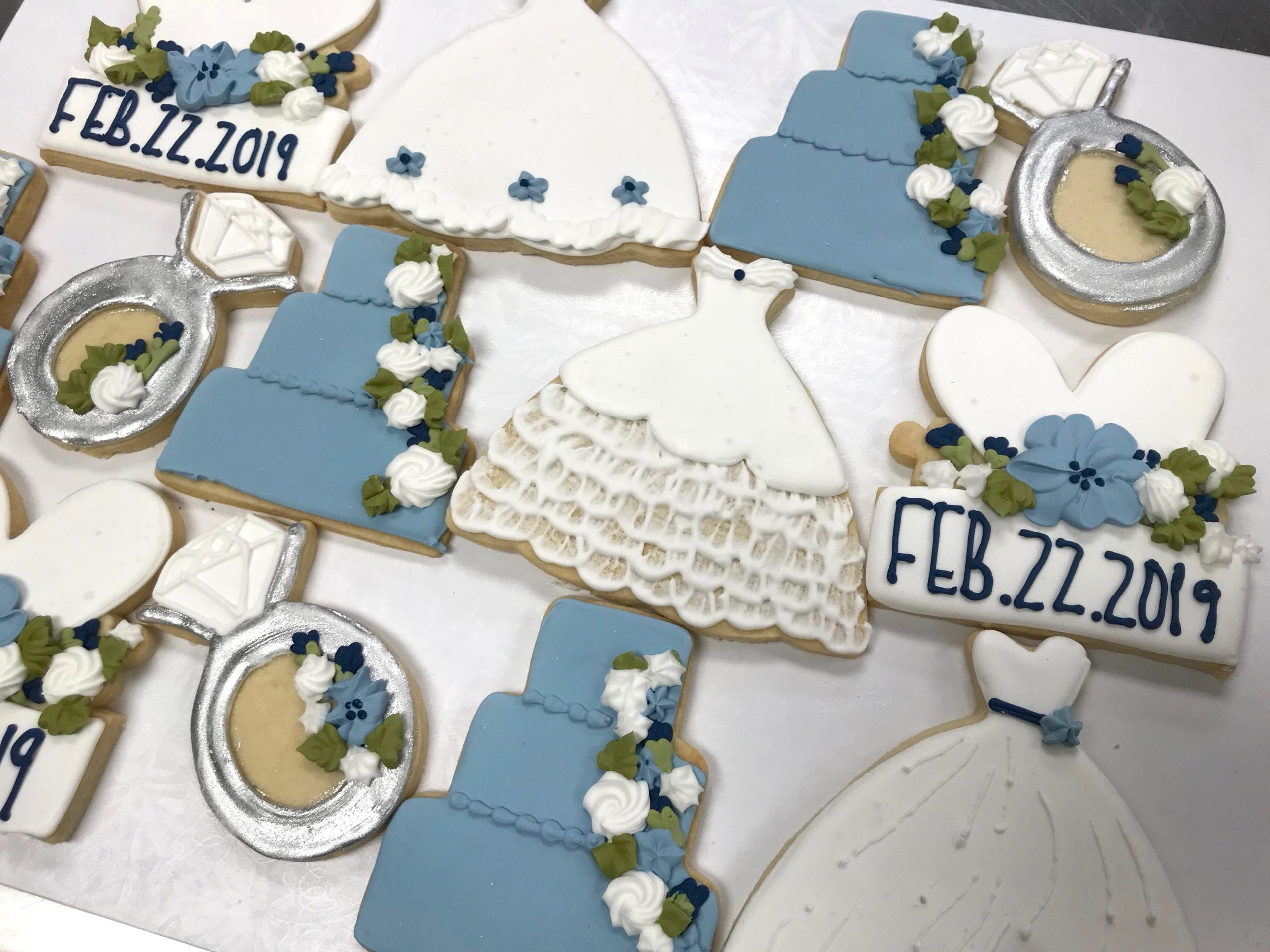Blue, White and Silver Wedding Shower Cookies   3 Sweet Girls Cakery