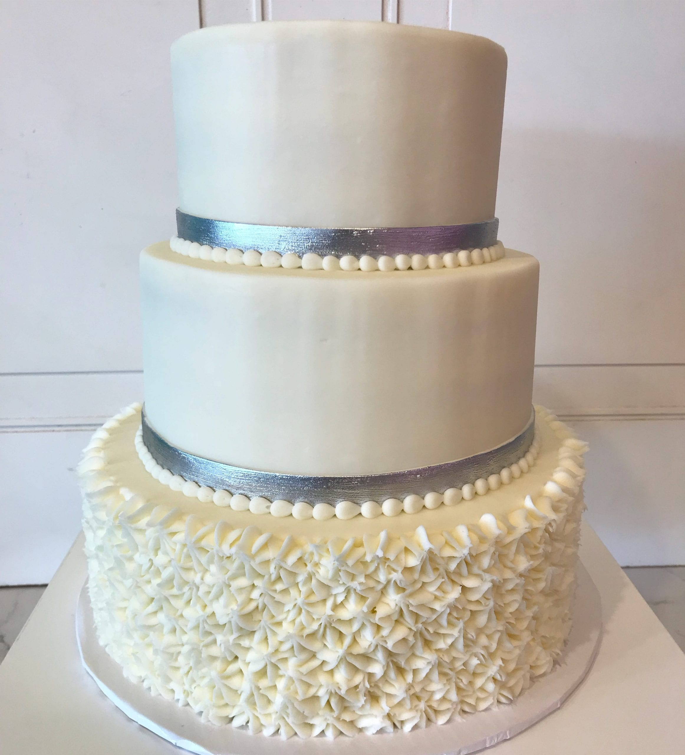 White 3 Tier Wedding Cake with Silver Bands | 3 Sweet Girls Cakery