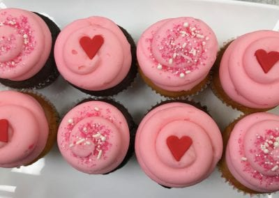 Pink Valentine Cupcakes with Red Hearts | 3 Sweet Girls Cakery