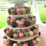 Wedding Cupcake Tower with Cutting Cake