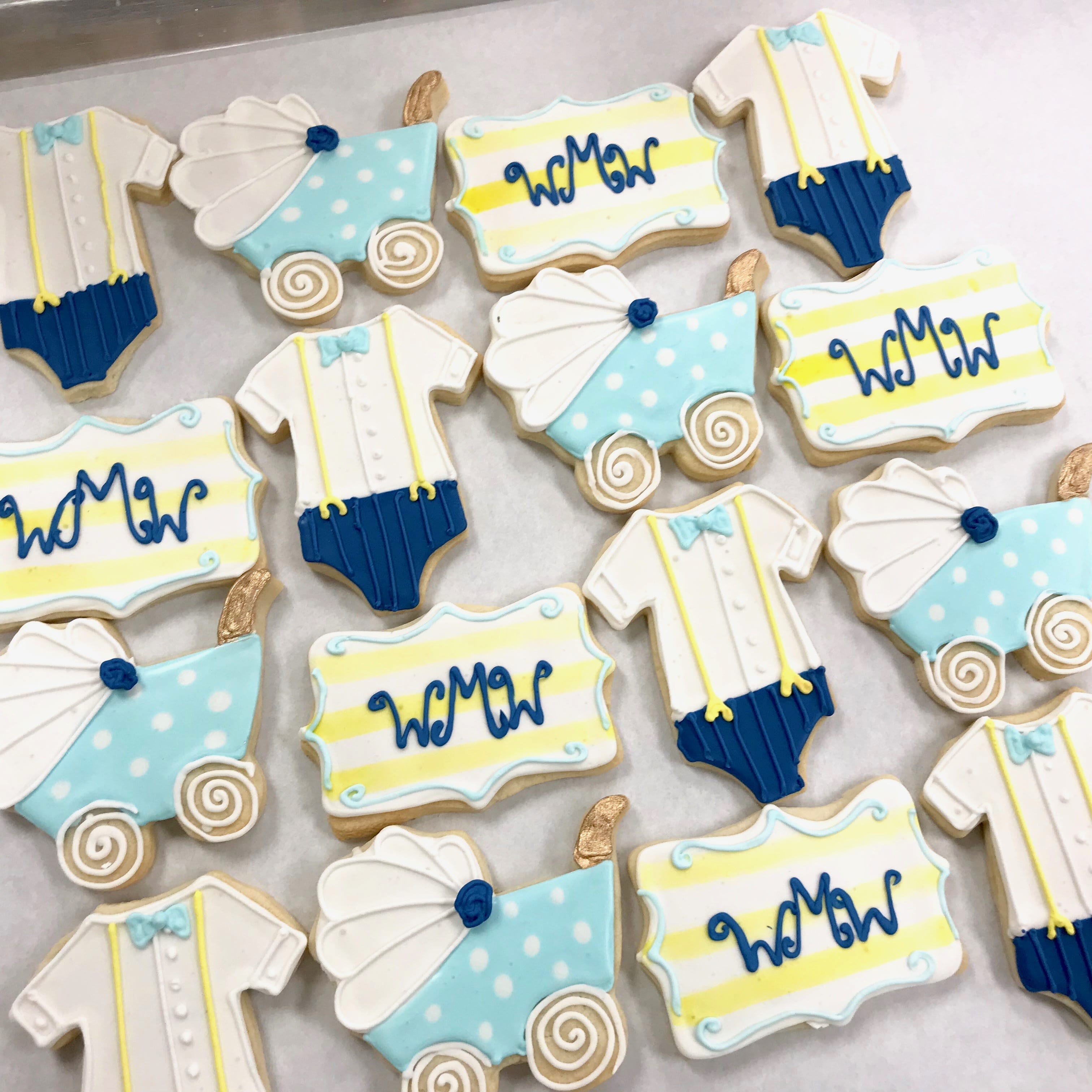 Preppy Monogram Baby Shower Cookies | 3 Sweet Girls Cakery