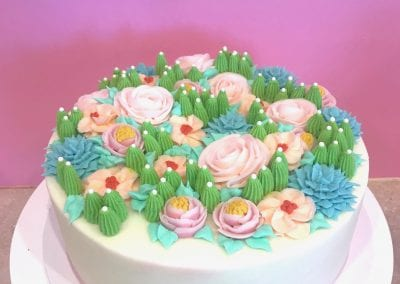 Blush Cake with Flowers and Succulents | 3 Sweet Girls Cakery