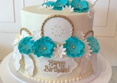 Blue White And Gold 2 Tier Dream Catcher Cake
