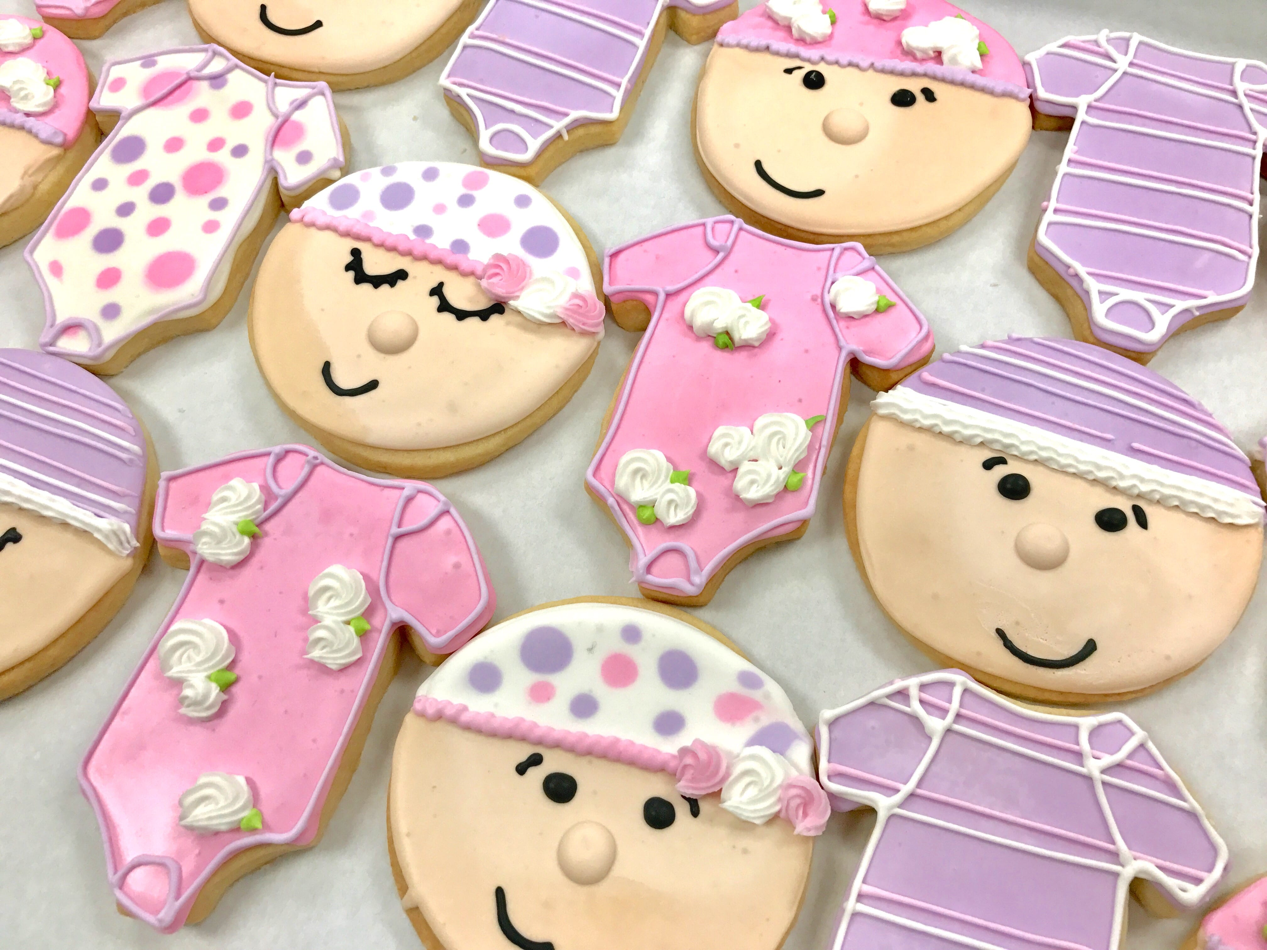 Lavender and Pink Baby Onesie and Baby Face Cookies | 3 Sweet Girls Cakery