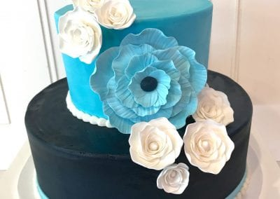 2 Tier Navy and Light Blue Floral Cake | 3 Sweet Girls Cakery