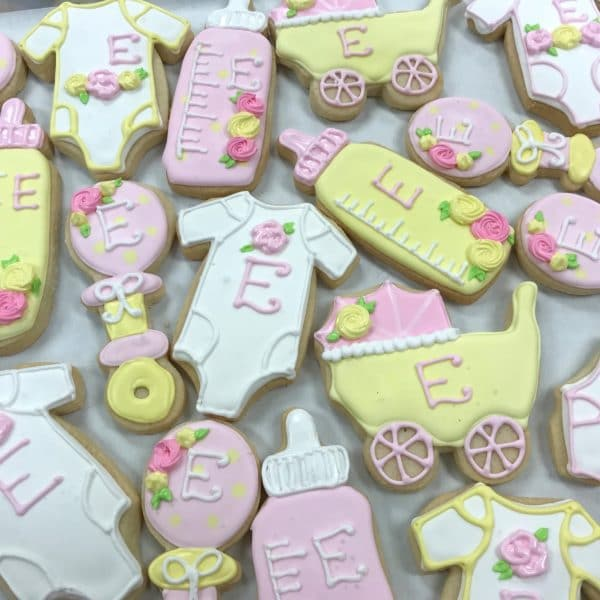 Pastel Pink, Yellow and White Baby Cookies