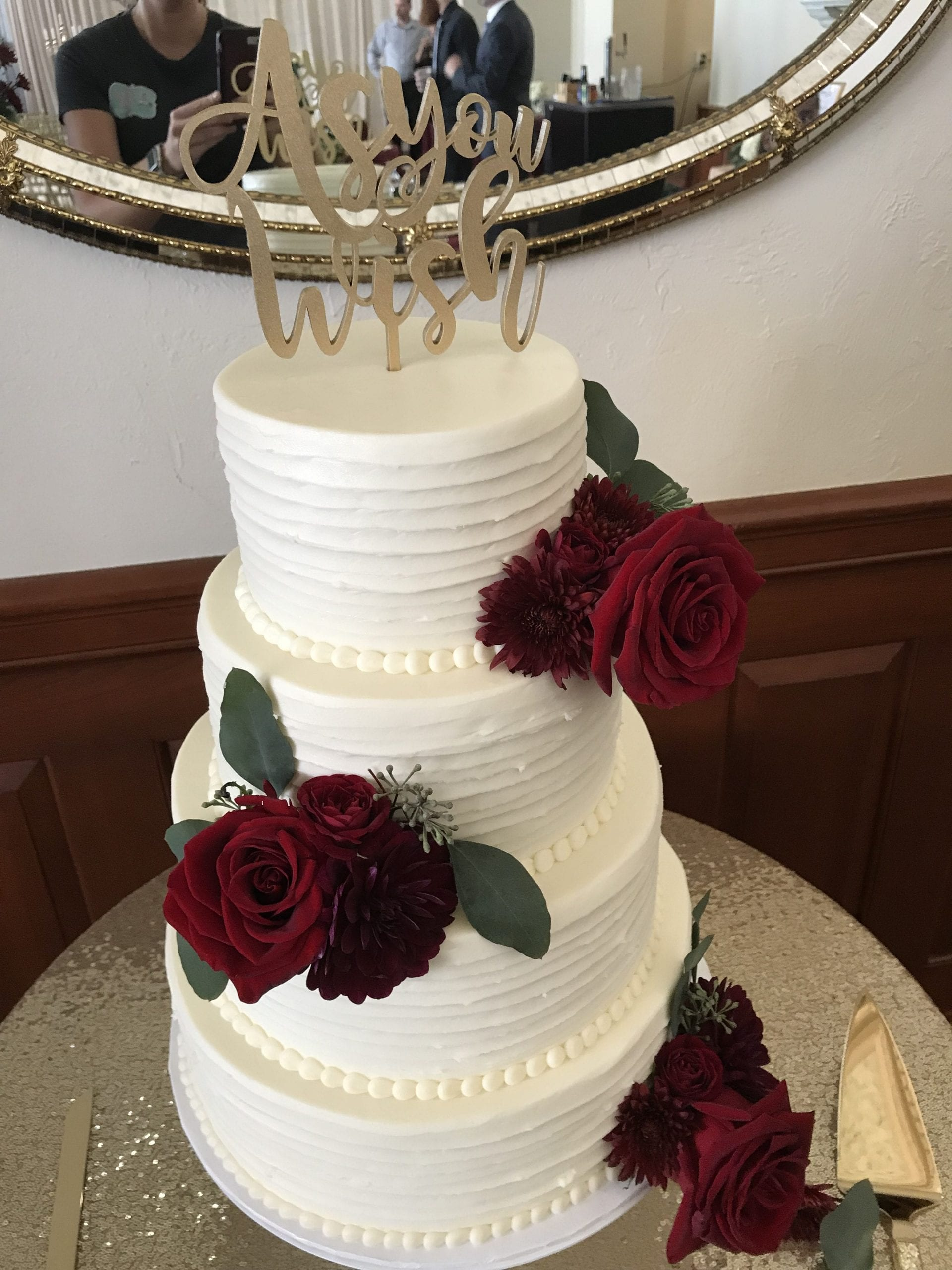 Rustic 4 Tier Wedding Cake with Roses | 3 Sweet Girls Cakey