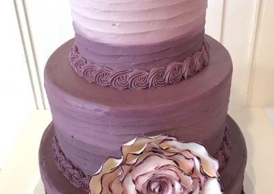 3 Tier Purple Ombre Cake | 3 Sweet Girls Cakery