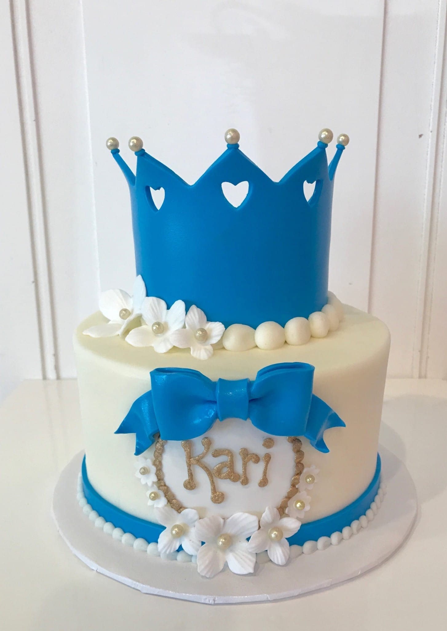 Blue and White Princess Crown Cake