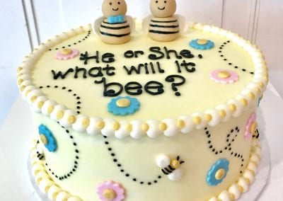 He or She. What Will it Bee? Gender Reveal Cake | 3 Sweet Girls Cakery