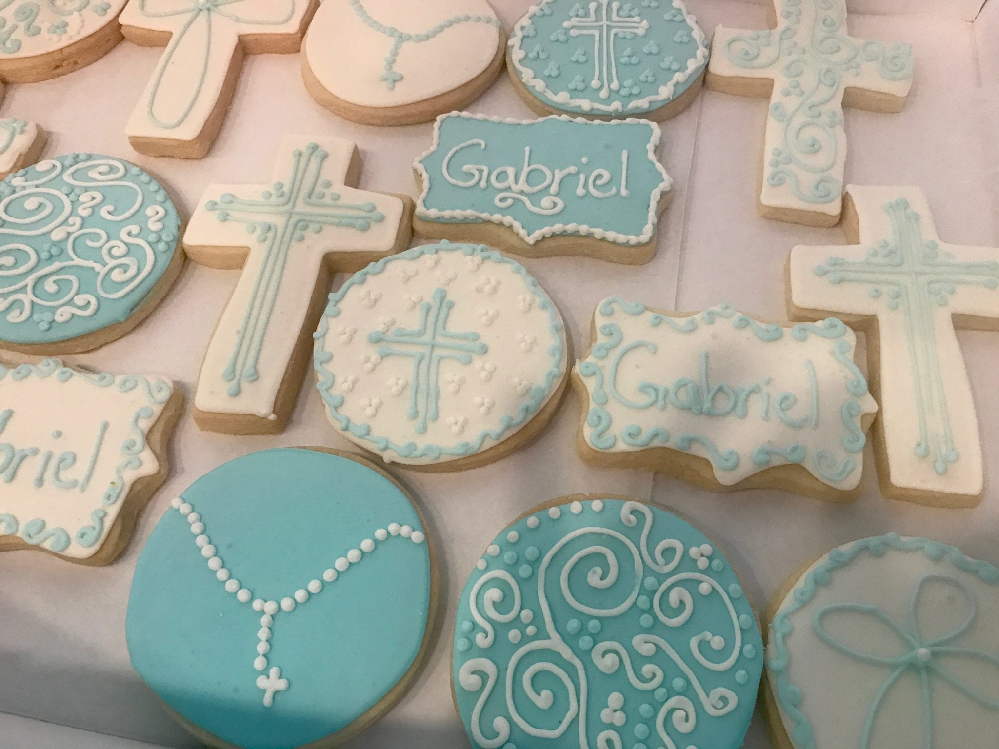 Baptism or First Communion Cookies with Rosary Beads and Crosses | 3 Sweet Girls Cakery