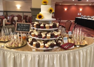Fall Wedding Dessert Display with Sunflowers | 3 Sweet Girls Cakery