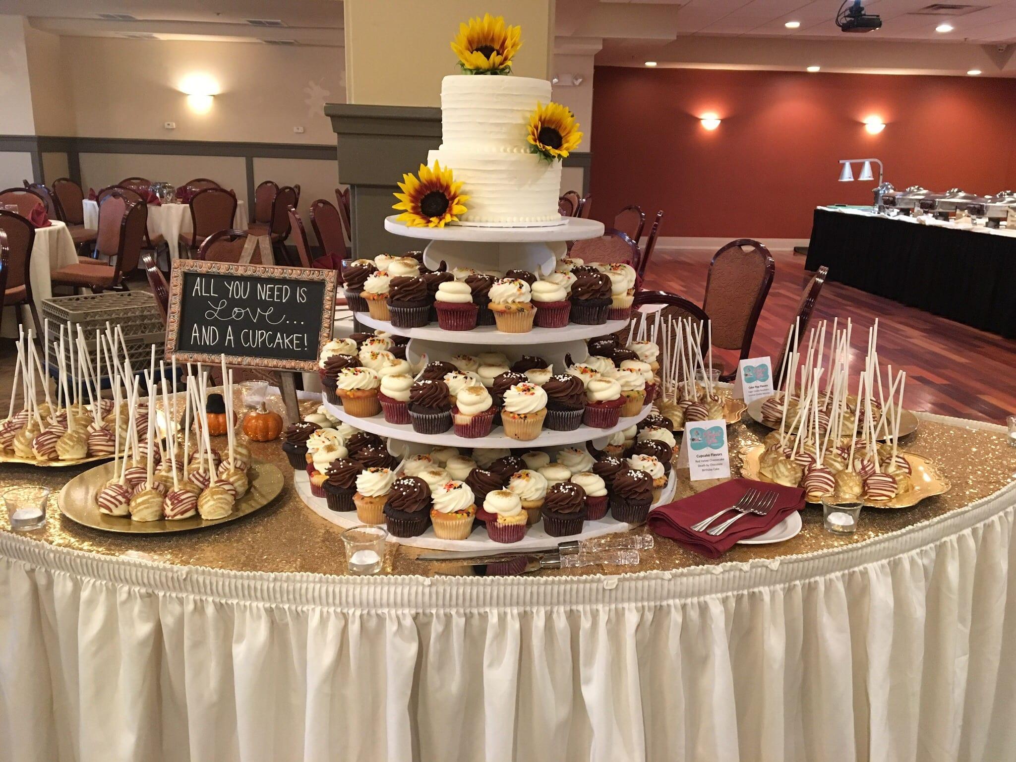 Fall Wedding Dessert Display with Sunflowers | 3 Sweet Girls Cakery