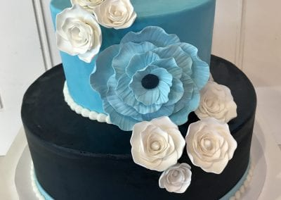 2 Tier Blue Cake with Flowers | 3 Sweet Girls Cakery