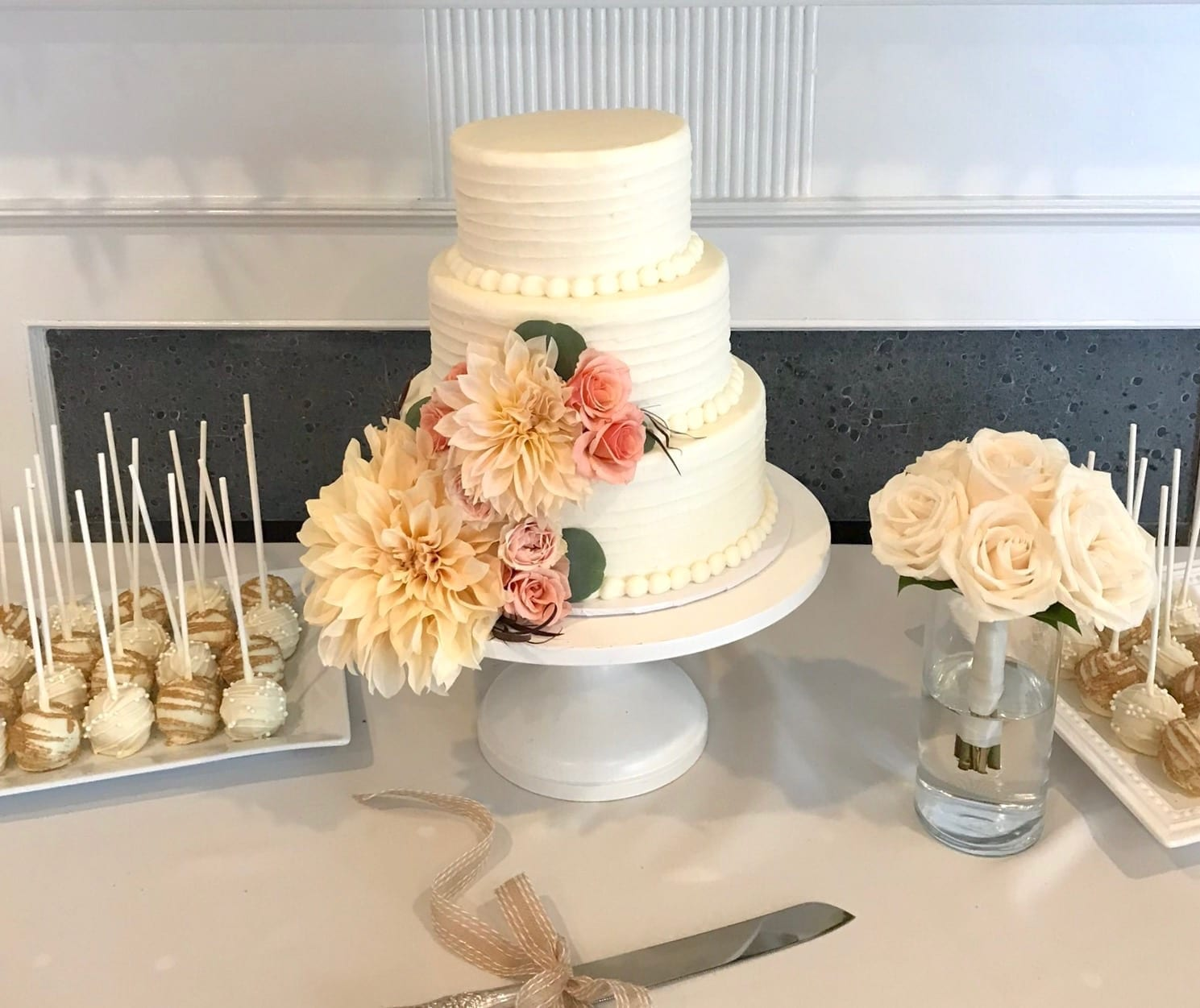 Rustic Wedding Cake with Dalias and Assorted Cake Pops | 3 Sweet Girls Cakery