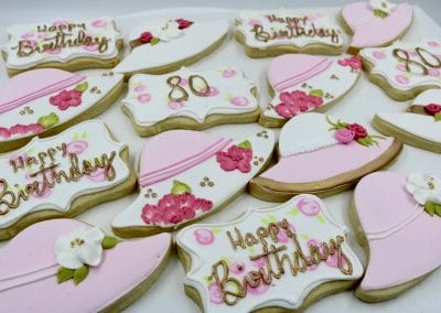 Ladies Hat and 80th Birthday Cookies | 3 Sweet Girls Cakery
