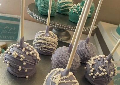 Lavender, Aqua and White Cake Pops | 3 Sweet Girls Cakery