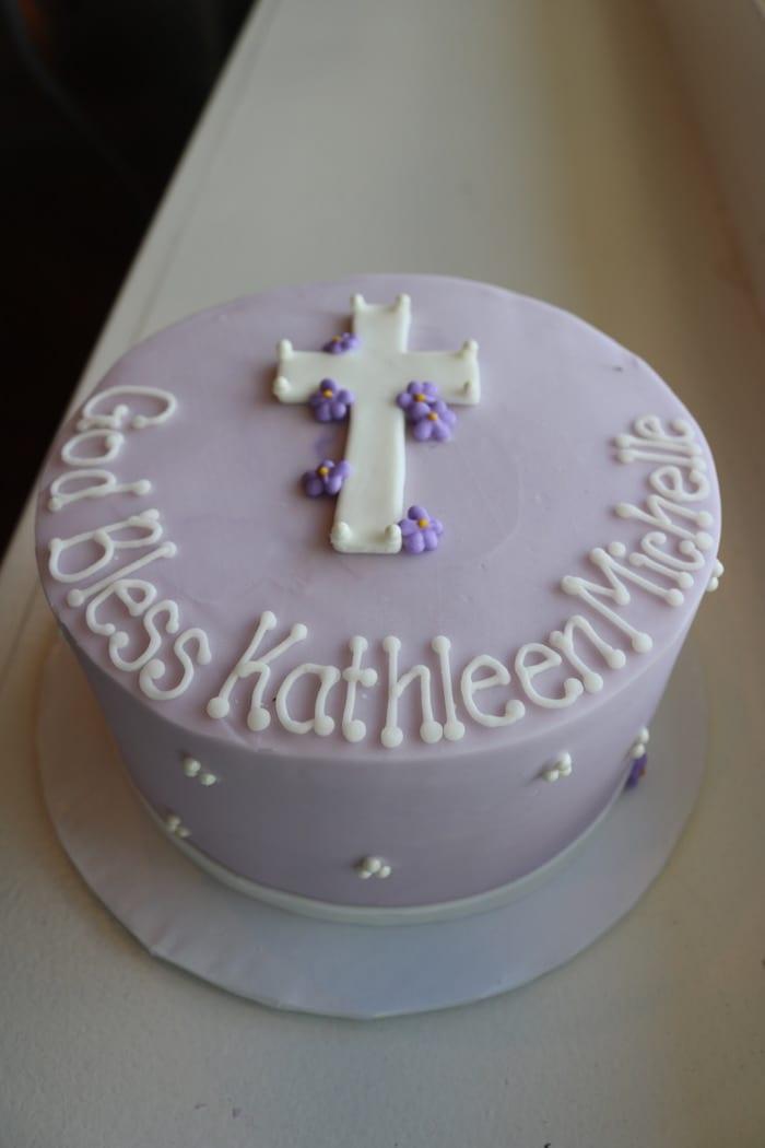 Lavender Baptism or Christening Cake   3 Sweet Girls Cakery