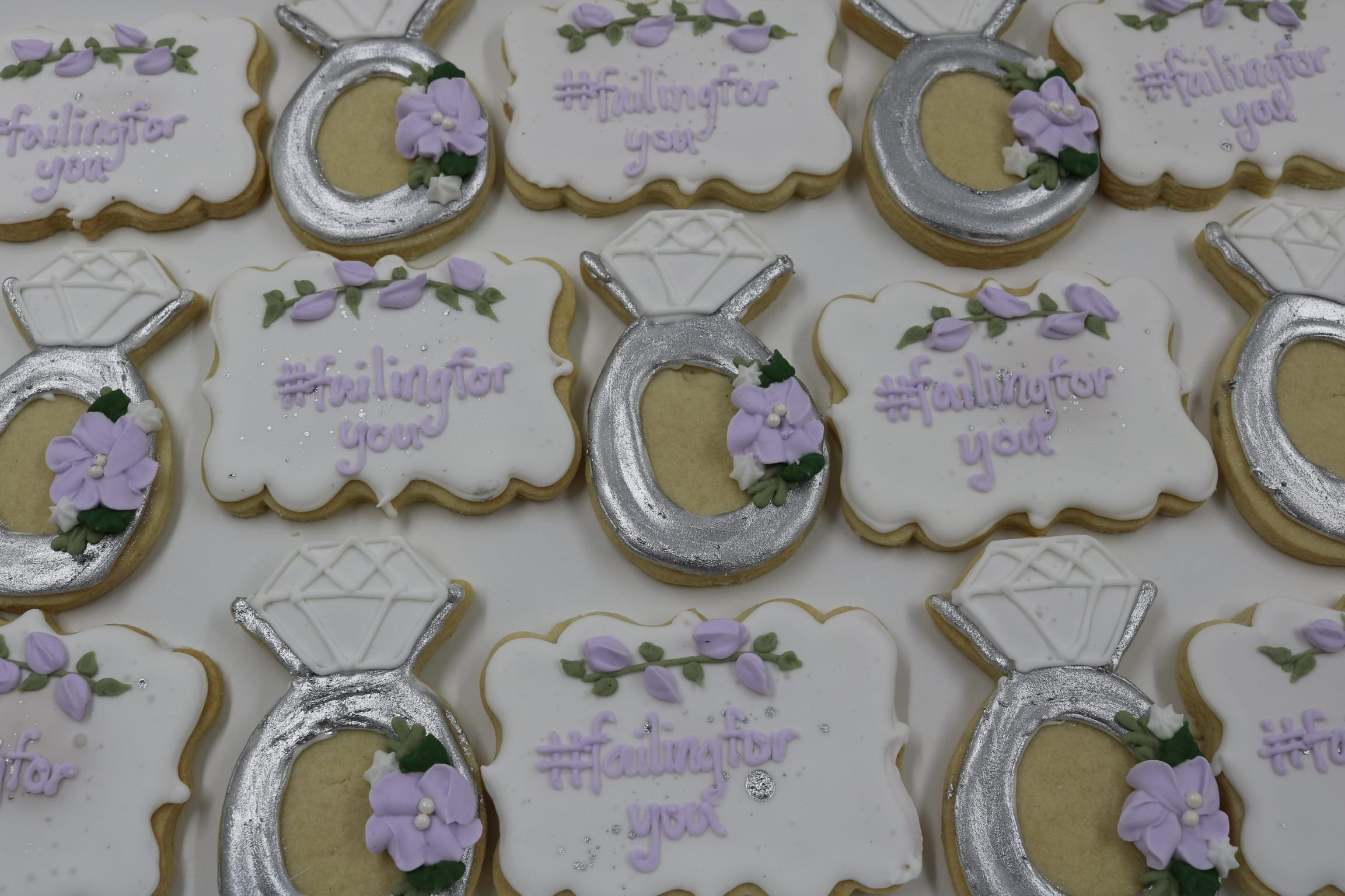 Lavender, White and Silver Wedding Shower Cookies   3 Sweet Girls Cakery