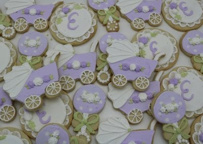 Lavender and WHite Baby Carriage and Monogram Cookies | 3 Sweet Girls Cakery