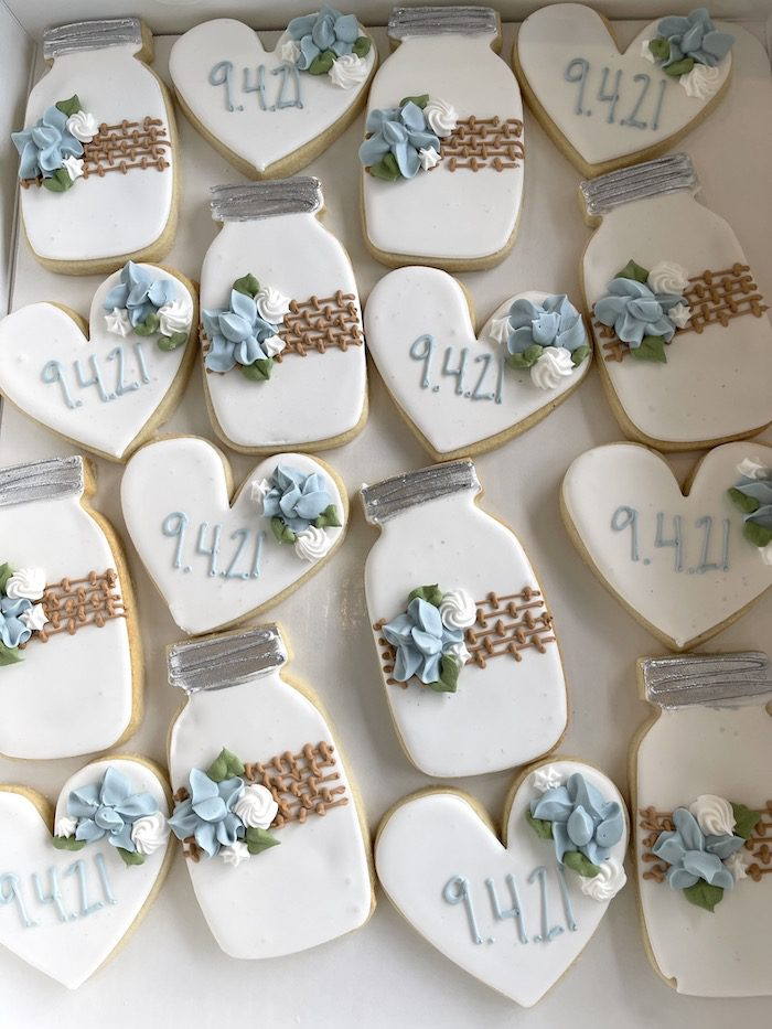 Mason Jar and Heart Wedding Cookies   3 Sweet Girls Cakery