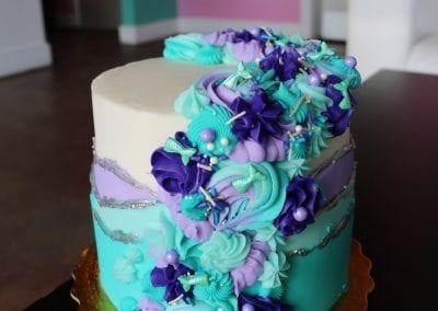 Mermaid Mixed Rosette Cake | 3 Sweet Girls Cakery