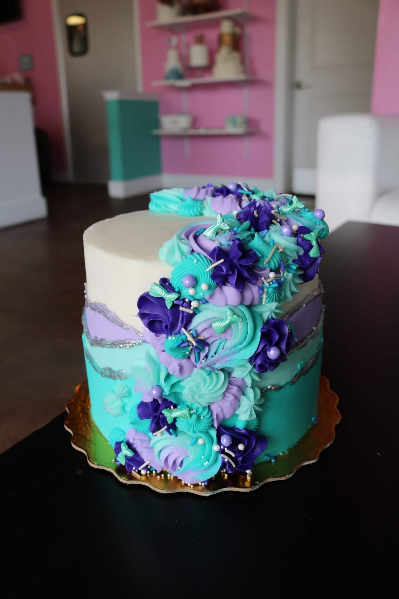 Mermaid Mixed Rosette Cake | 3 Sweet Girls Cakery