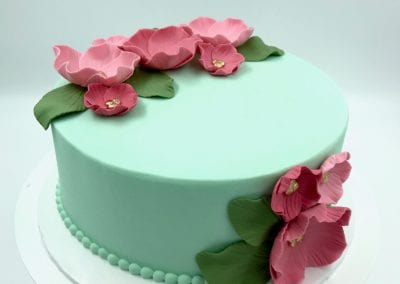 Mint Green Birthday Cake with Pink and Gold Flowers | 3 Sweet Girls Cakery