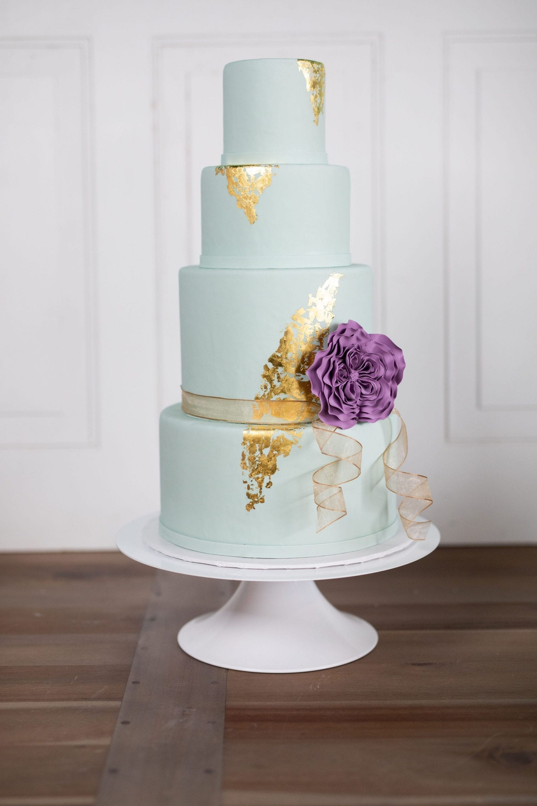 Mint Wedding Cake with Gold Foil and Plum Flower | 3 Sweet Girls Cakery