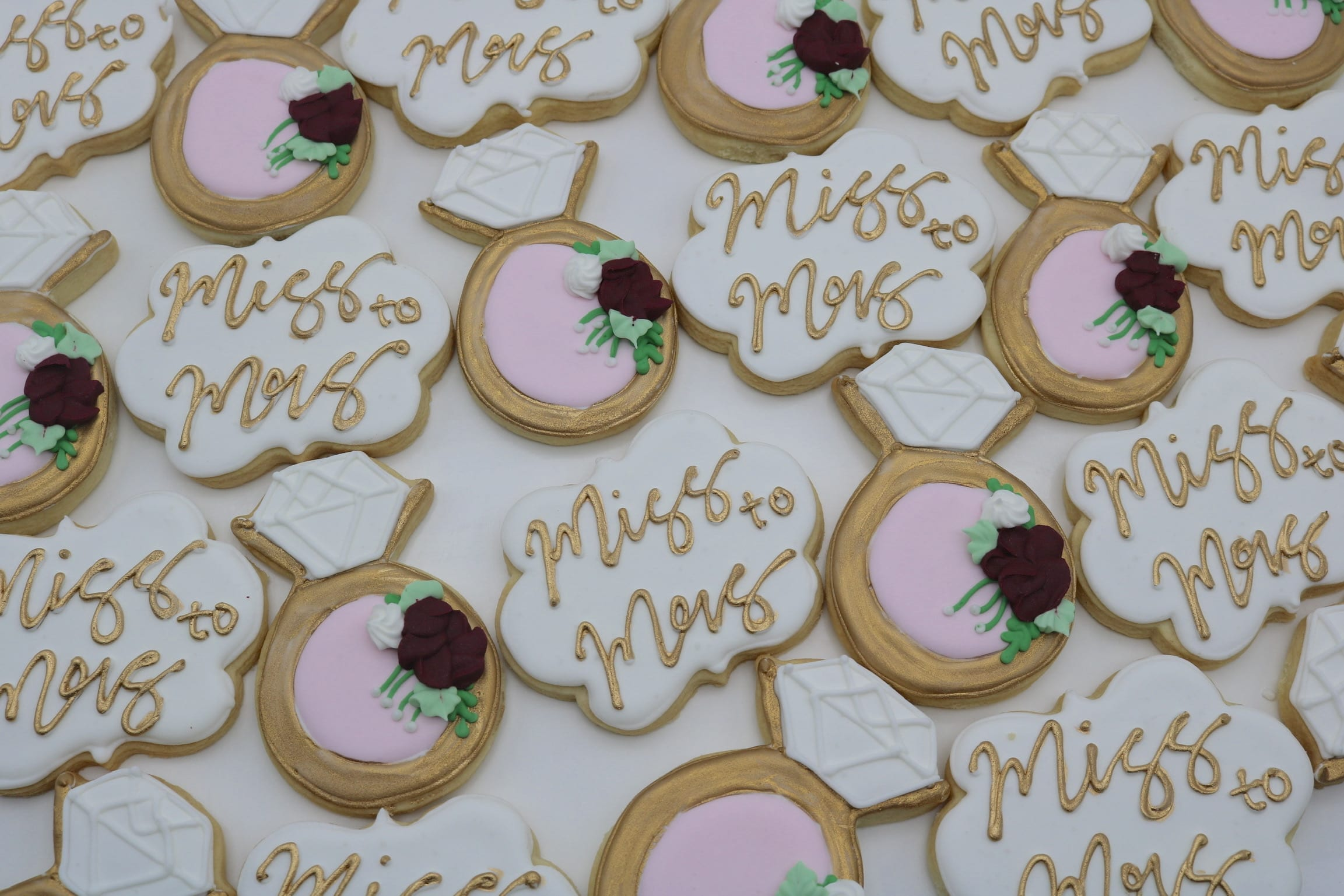 Miss to Mrs Gold, Blush and Burgandy Bridal Shower Cookies | 3 Sweet Girls Cakery