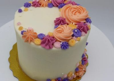 Mixed Rosette Cake Peach, Purple and Fushia | 3 Sweet Girls Cakery