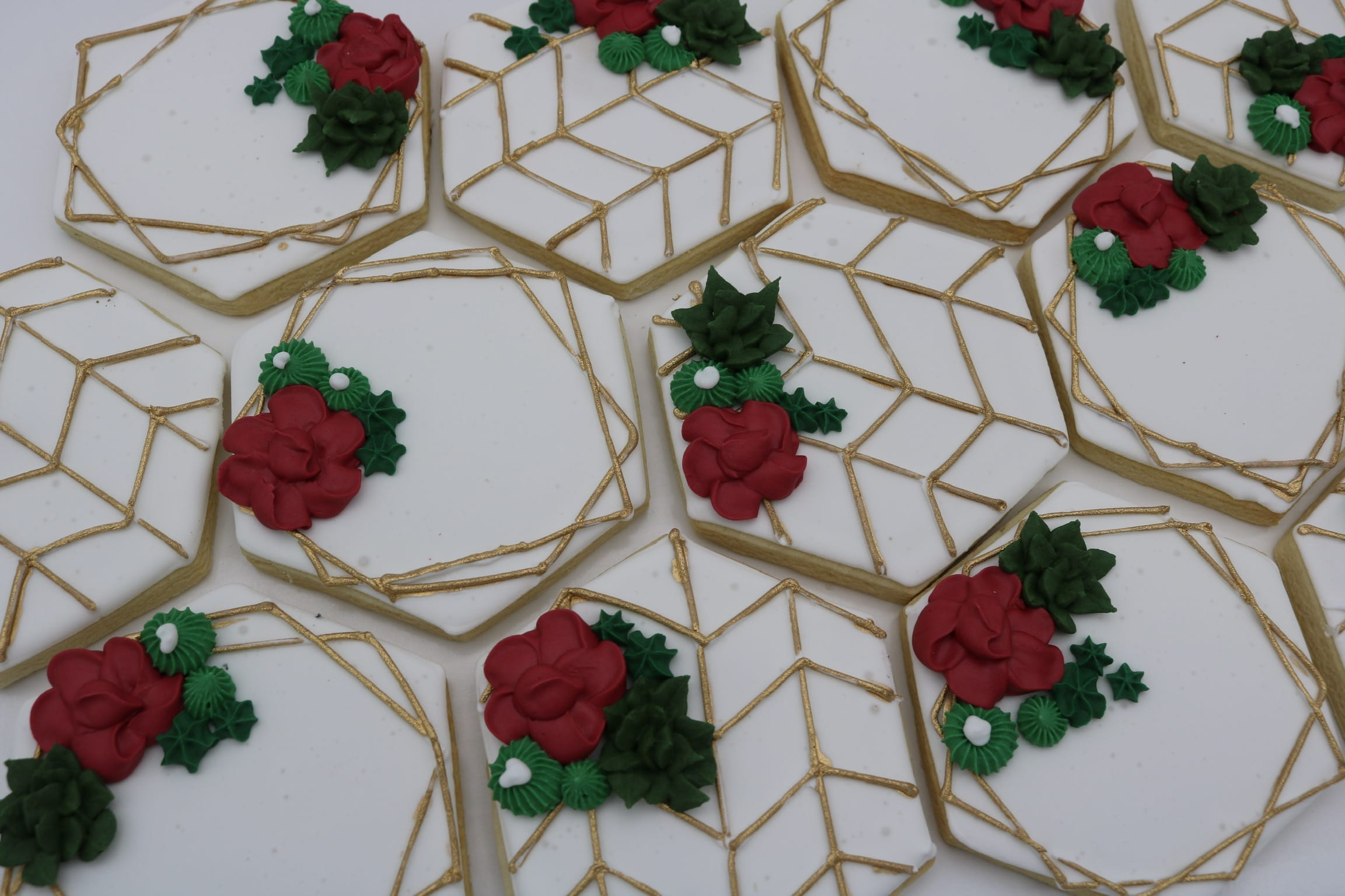 Modern Geometric Cookies with Gold Accents and Red Flowers | 3 Sweet Girls Cakery