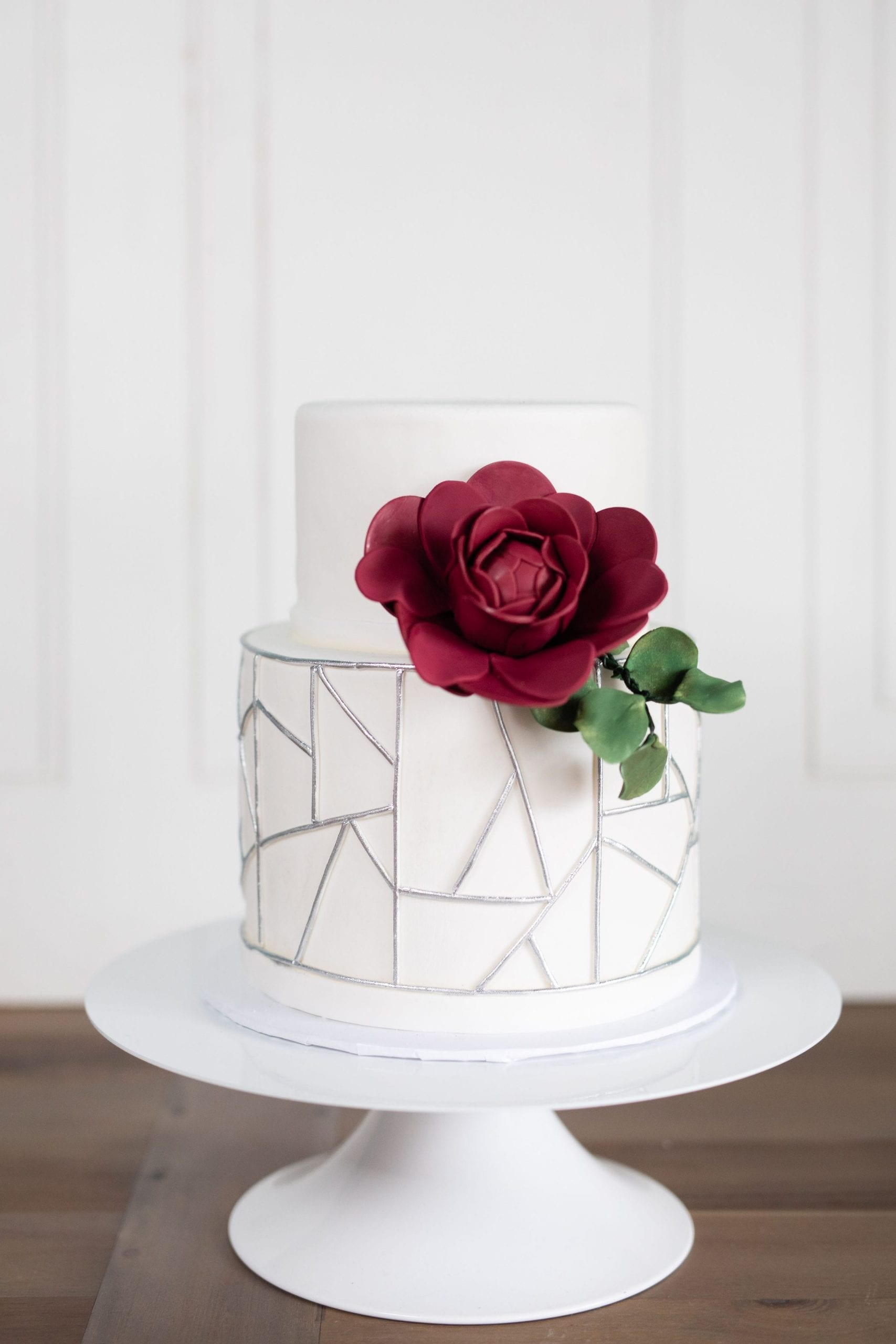 Modern White 2 Tier Cake with Silver and Burgandy | 3 Sweet Girls Cakery