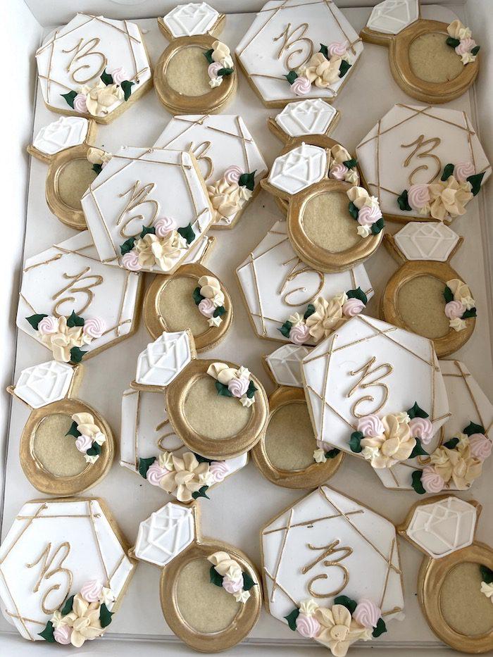 Monogram Hexagon and Engagement Ring Cookies   3 Sweet Girls Cakery