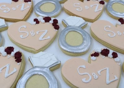 Monogram Wedding Cookies in Peach and Silver | 3 Sweet Girls Cakery