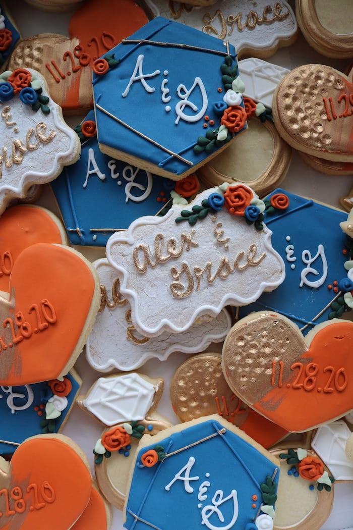 Monoram Wedding Cookies Blue, Orange and Gold   3 Sweet Girls Cakery