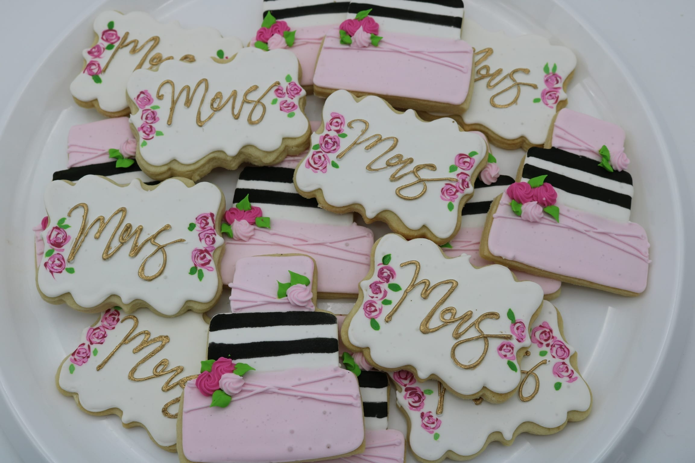 Mrs. Wedding Shower Cookies Pink, Gold and Black | 3 Sweet Girls Cakery